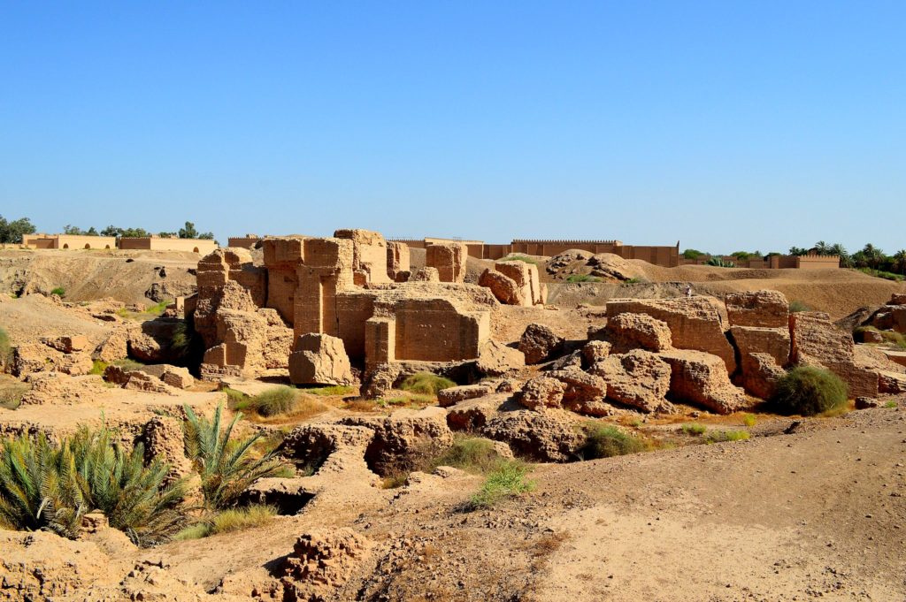image illustrating the archaeological ruins of the north palace in Babylon, Iraq. remains of brick structures
