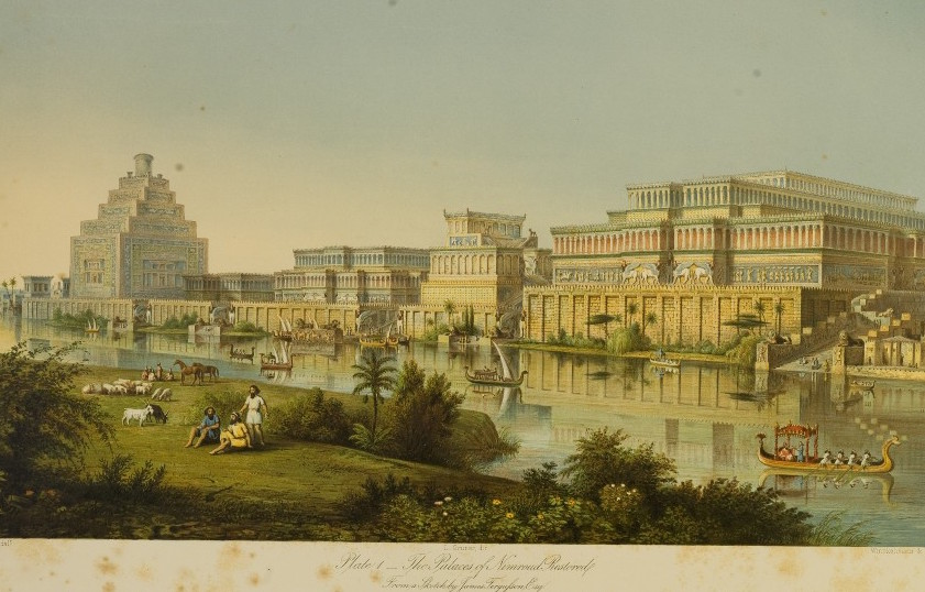 Image illustrating an artist's impression of the ancient city of Nimrud in northern Iraq