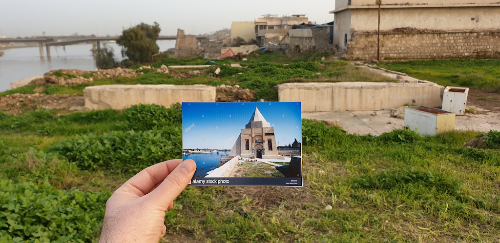 Image showing postcard of the Imam Yahya shrine in Old Mosul before destruction and its ruins after destruction in the background